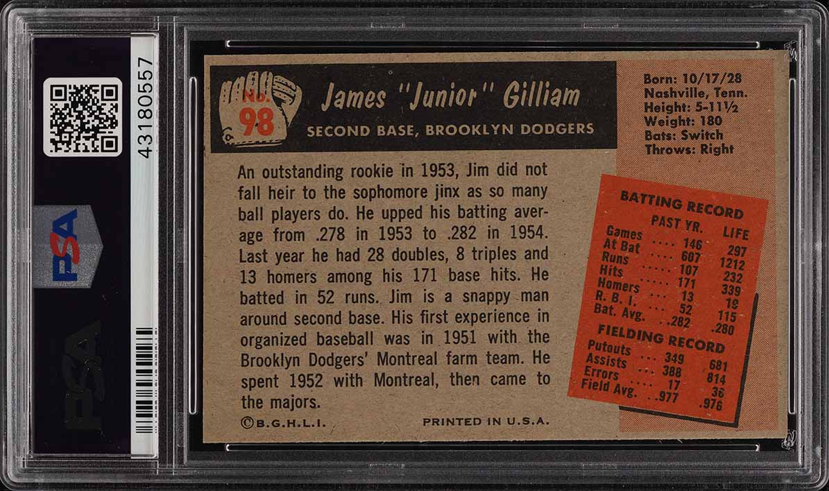 1955 Bowman Junior Gilliam #98 PSA 8 NM-MT (PWCC) - Image 2