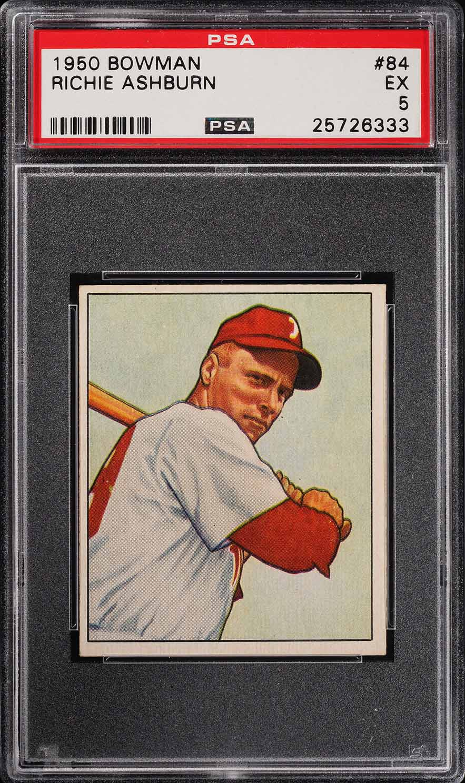 1950 Bowman Richie Ashburn #84 PSA 5 EX (PWCC) - Image 1