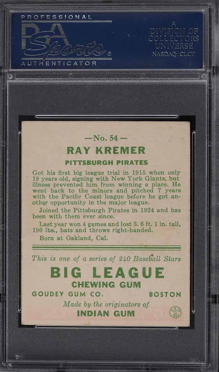 1933 Goudey Ray Kremer #54 PSA 6 EXMT - Image 2