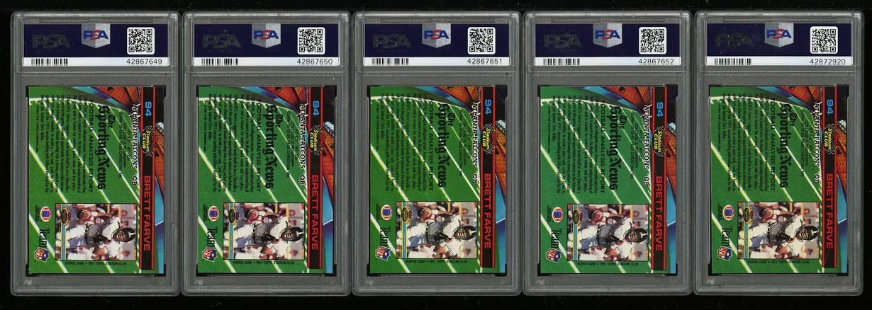 Lot(5) 1991 Stadium Club Football Brett Favre ROOKIE RC #94, ALL PSA 10 (PWCC) - Image 2