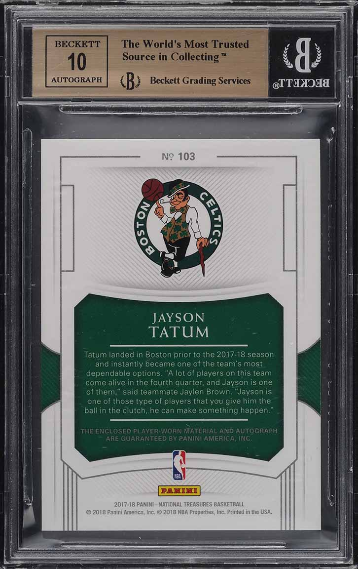2017 National Treasures Jayson Tatum ROOKIE RC PATCH AUTO /99 BGS 9.5 GEM (PWCC) - Image 2