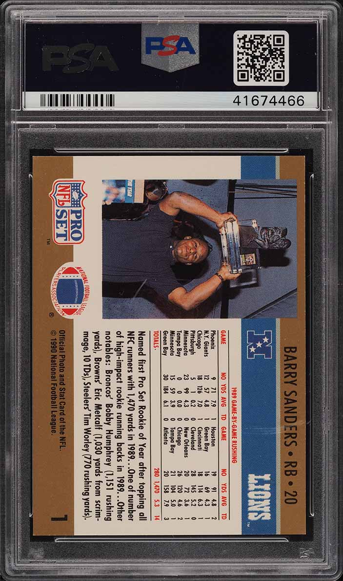 1990 Pro Set Football Rookie Of The Year Barry Sanders #1 PSA 8 NM-MT (PWCC) - Image 2