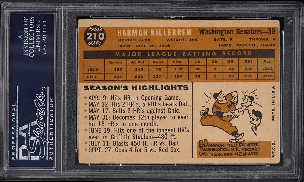 1960 Topps Harmon Killebrew #210 PSA 3 VG - Image 2