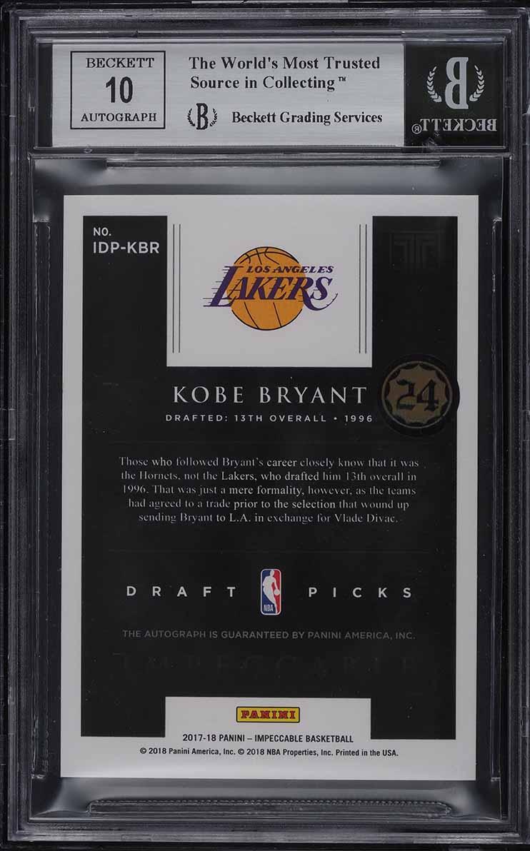 2017-18 Panini Impeccable Draft Picks Kobe Bryant AUTO JERSEY NUMBER 8/13 BGS 9 - Image 2