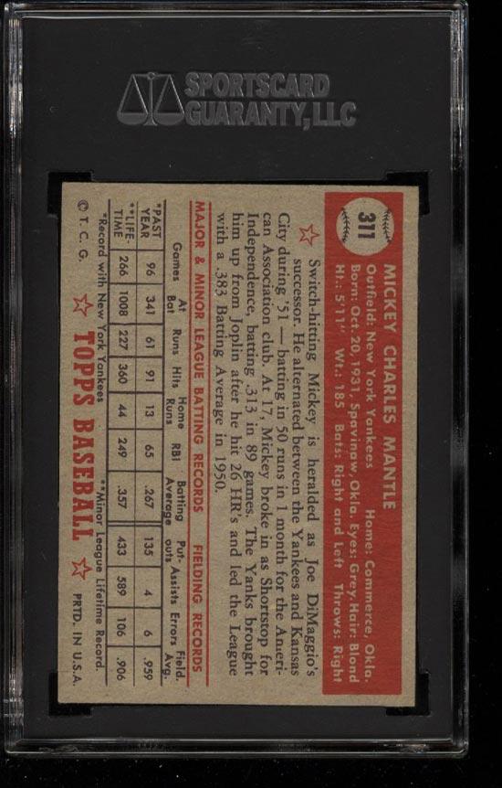 1952 Topps Mickey Mantle #311 SGC 7/84 NRMT (PWCC) - Image 2