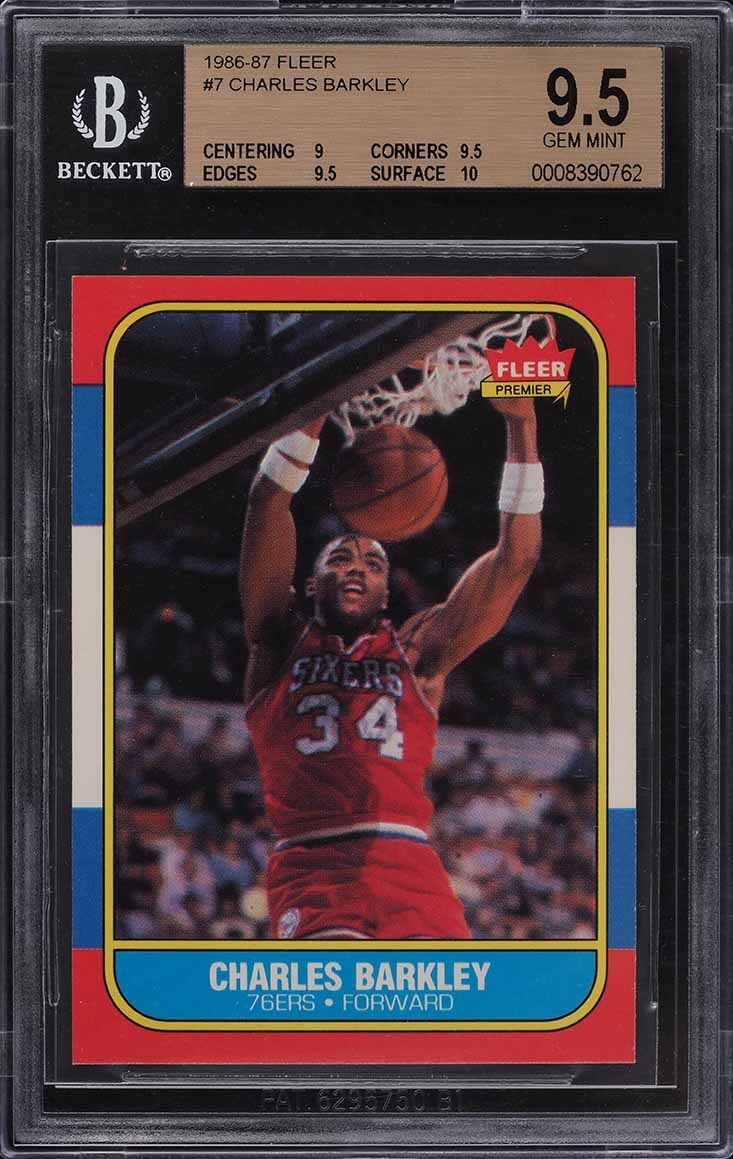 1986 Fleer Basketball Charles Barkley ROOKIE RC #7 BGS 9.5 GEM MINT (PWCC) - Image 1