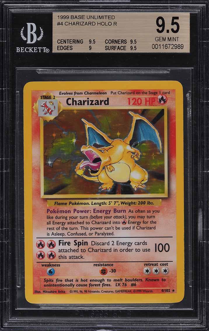 1999 Pokemon Base Set Unlimited Holo Charizard #4 BGS 9.5 GEM MINT - Image 1