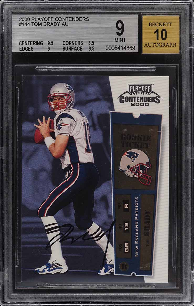 2000 Playoff Contenders Tom Brady ROOKIE RC AUTO #144 BGS 9 MINT - Image 1