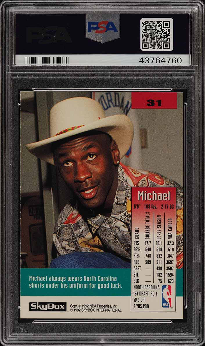 1992 Skybox Basketball Michael Jordan #31 PSA 10 GEM MINT (PWCC) - Image 2