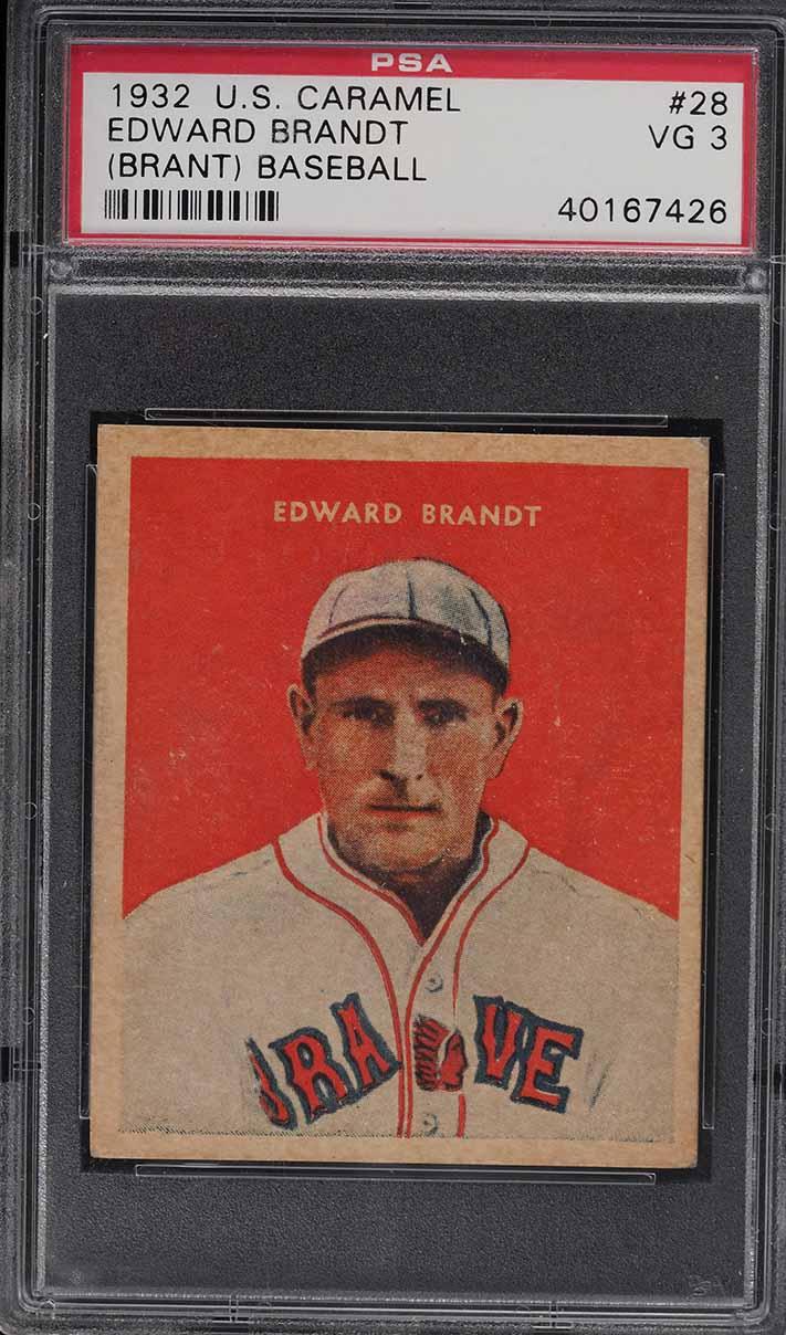 1932 U.S. Caramel Edward Brandt #28 PSA 3 VG - Image 1