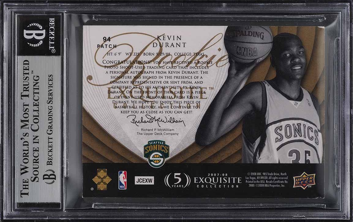 2007 Exquisite Collection Parallel Kevin Durant RC PATCH AUTO /35 BGS Auth - Image 2