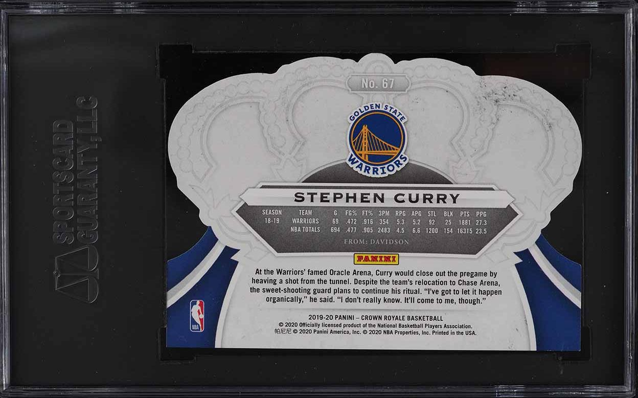 2019 Crown Royale Crystal Stephen Curry #67 SGC 10 GEM MINT - Image 2