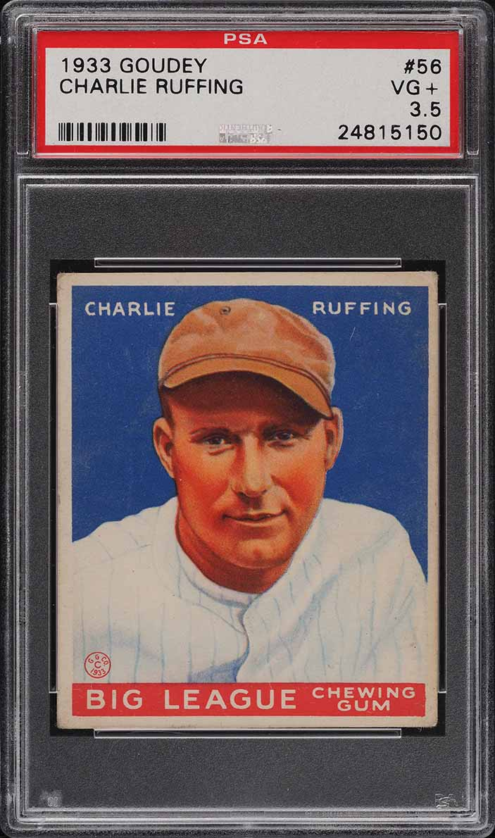 1933 Goudey Charlie Red Ruffing #56 PSA 3.5 VG+ - Image 1