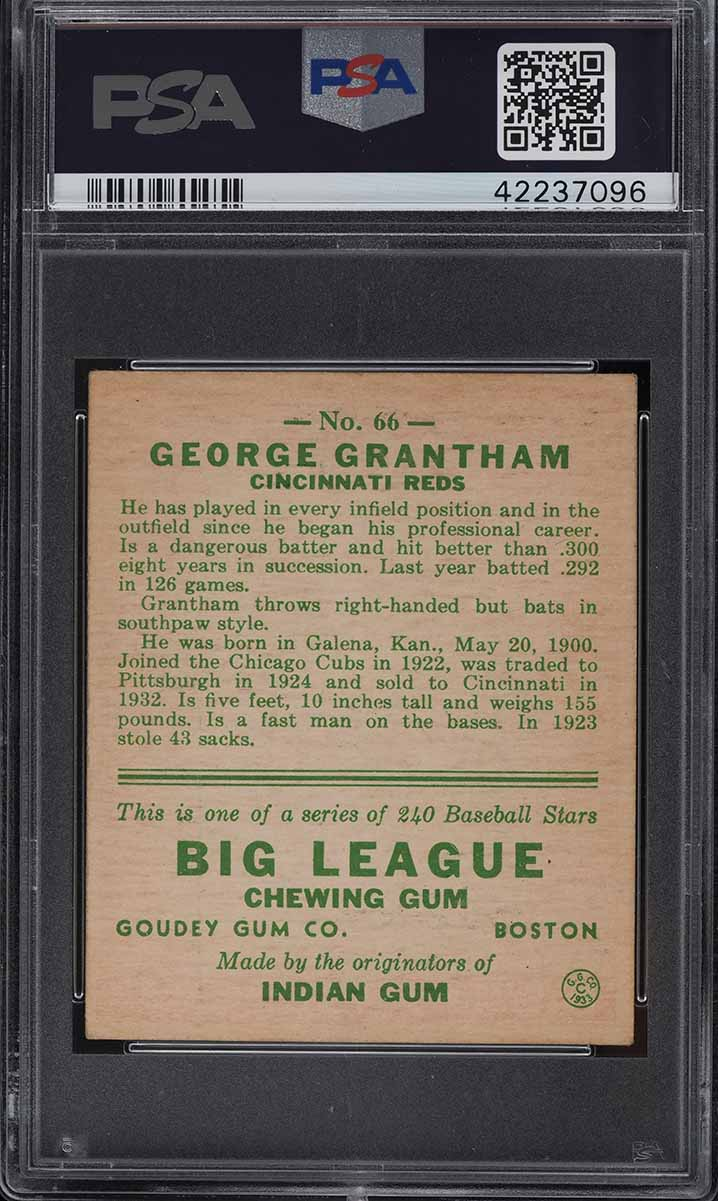 1933 Goudey George Grantham #66 PSA 6.5 EXMT+ - Image 2