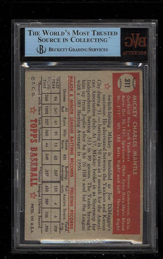 1952 Topps Mickey Mantle #311 BVG Altered (PWCC) - Image 2