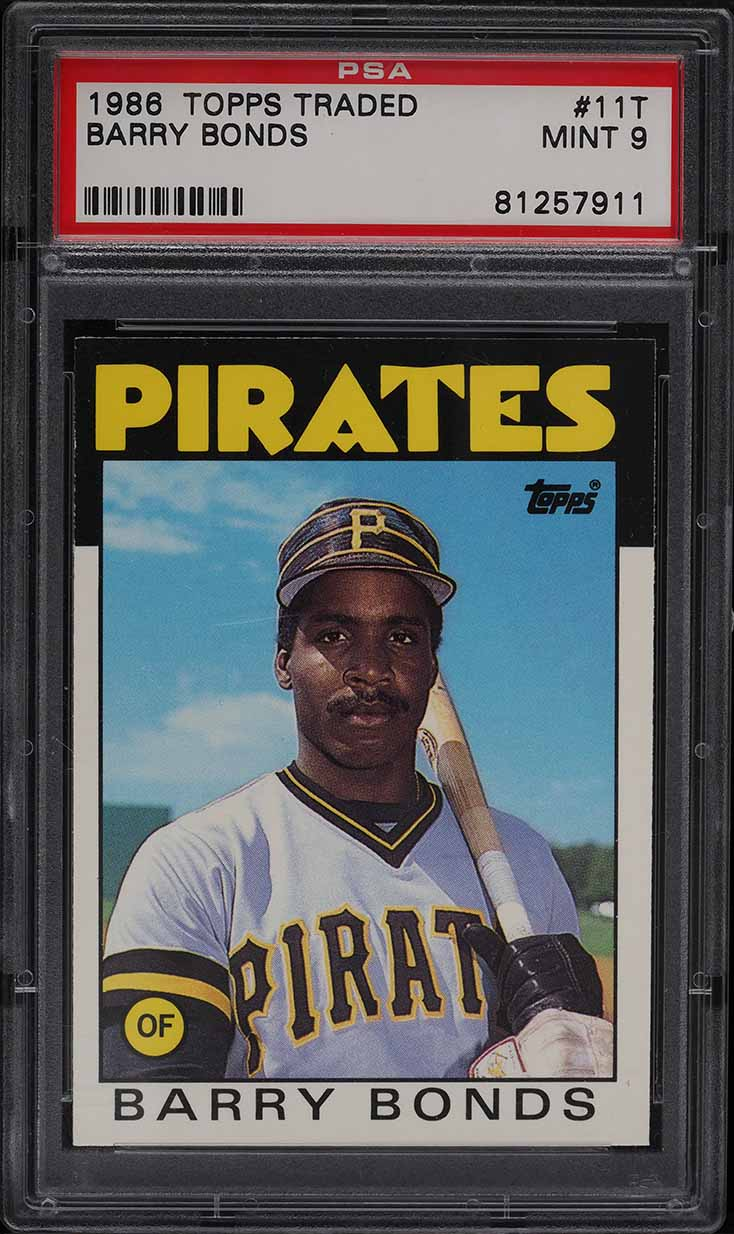1986 Topps Traded Barry Bonds ROOKIE RC #11T PSA 9 MINT - Image 1