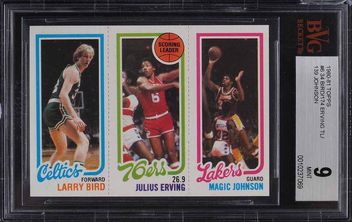 1980 Topps Basketball Larry Bird & Magic Johnson ROOKIE RC BVG 9 MINT (PWCC) - Image 1
