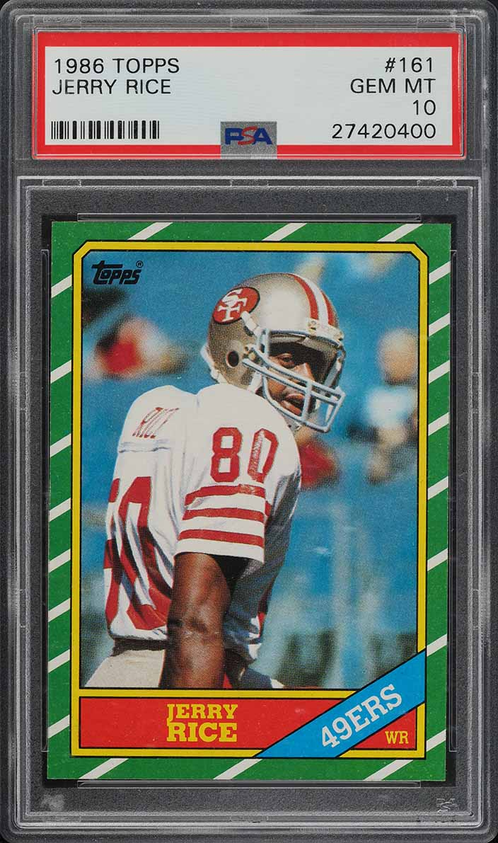 1986 Topps Football Jerry Rice ROOKIE RC #161 PSA 10 GEM MINT (PWCC) - Image 1