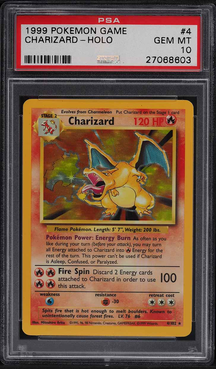 1999 Pokemon Game Holo Charizard #4 PSA 10 GEM MINT - Image 1