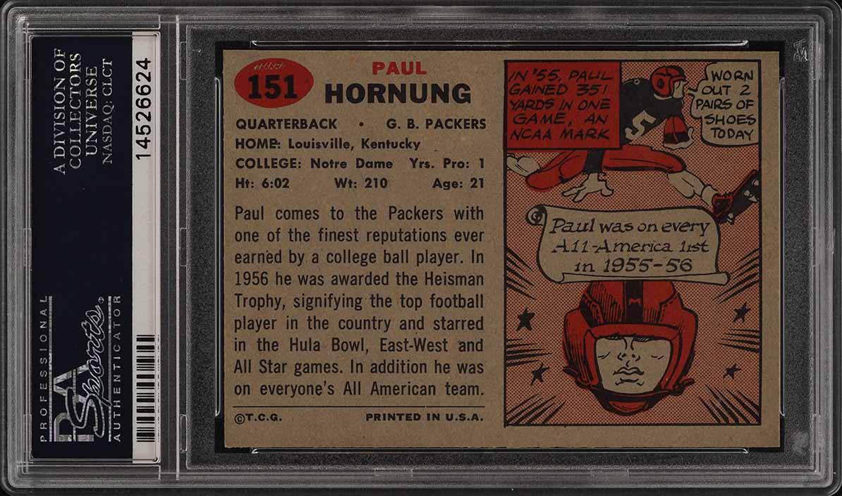 1957 Topps Football Paul Hornung ROOKIE RC #151 PSA 9 MINT (PWCC) - Image 2