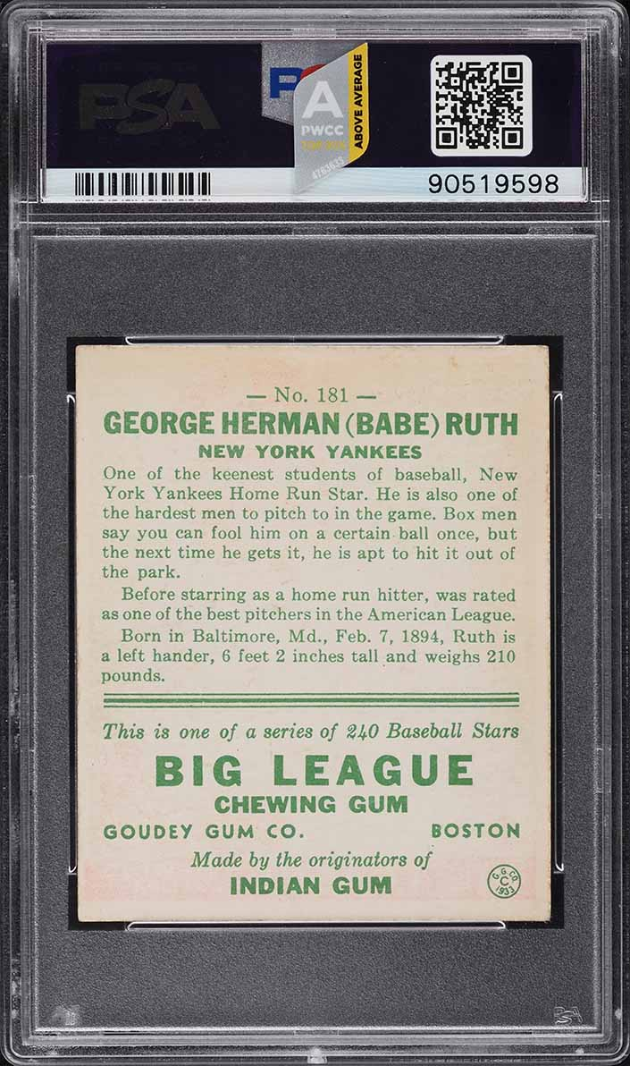 1933 Goudey Babe Ruth #181 PSA 6 EXMT (PWCC-A) - Image 2