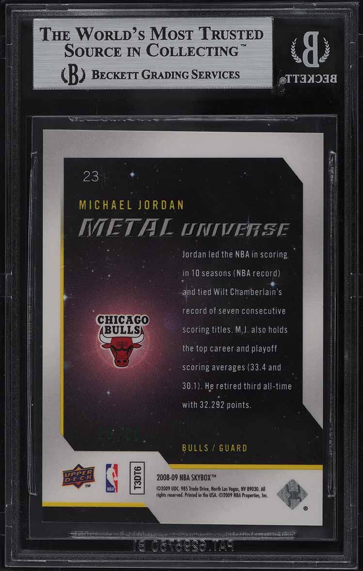 2008 Metal Universe Precious Metal Gems PMG Green Michael Jordan 10/10 #23 BGS 9 - Image 2