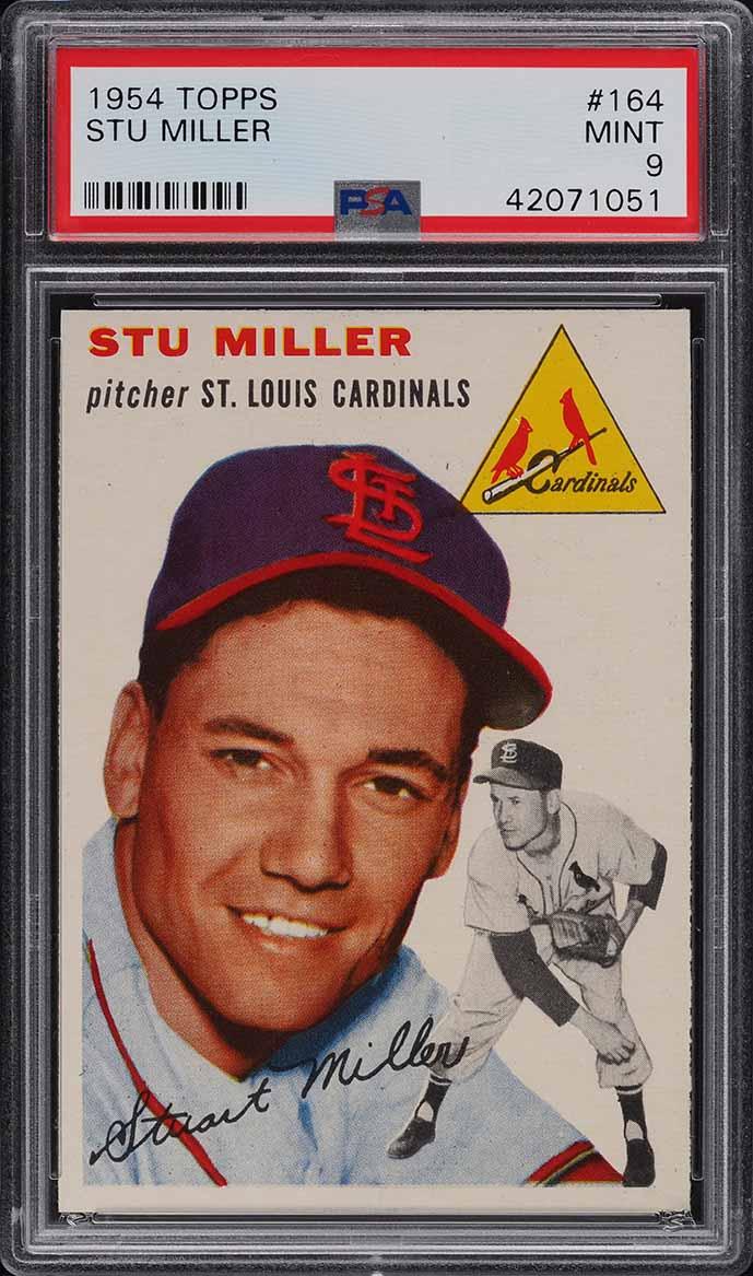 1954 Topps Stu Miller #164 PSA 9 MINT (PWCC-E) - Image 1