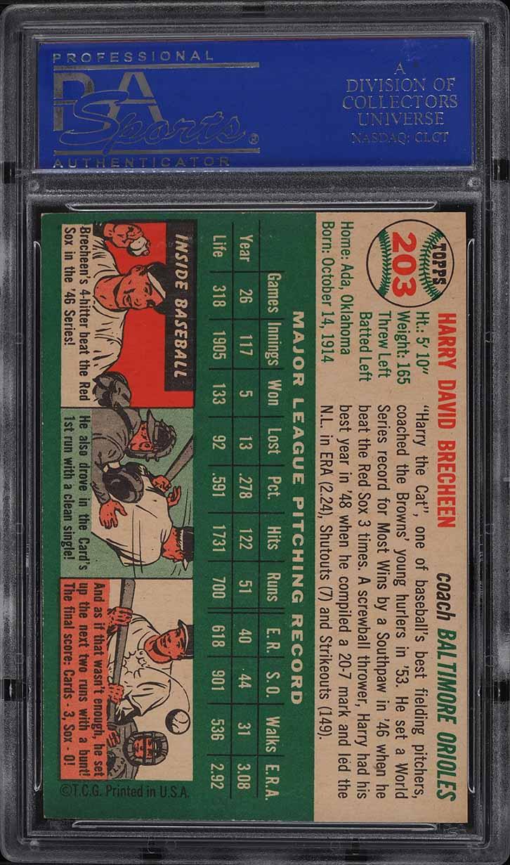 1954 Topps Harry Brecheen #203 PSA 8 NM-MT - Image 2