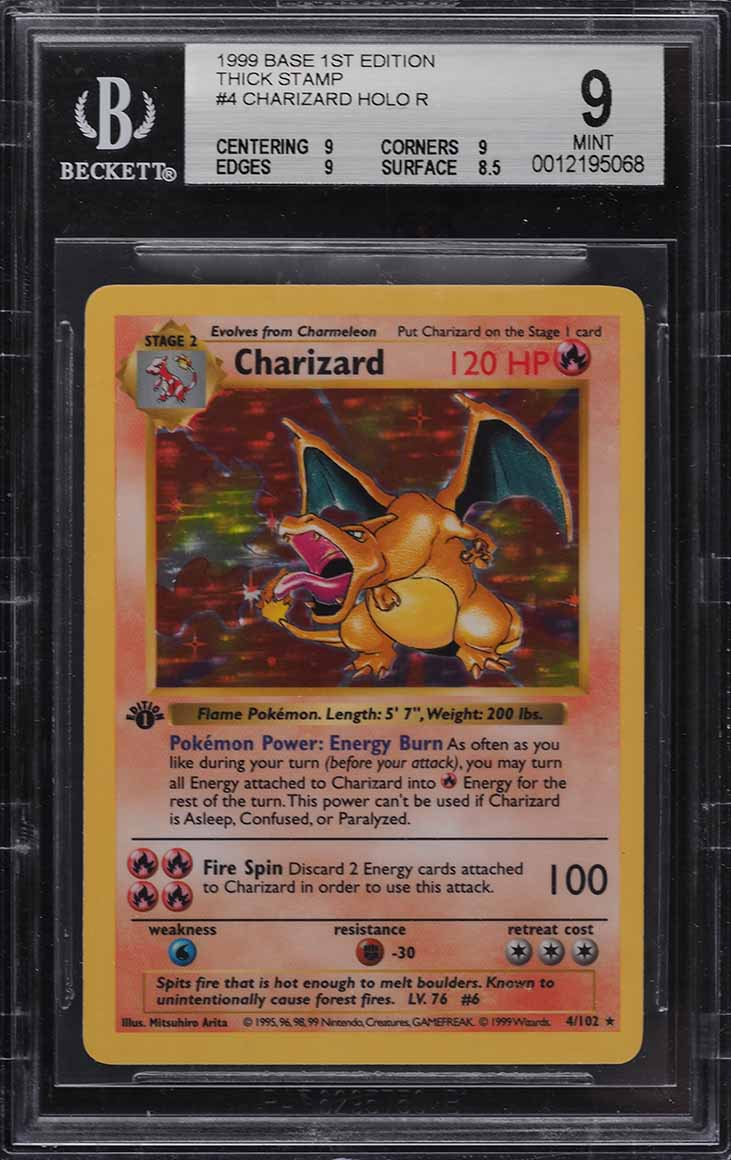 1999 Pokemon Game 1st Edition Holo Charizard #4 BGS 9 MINT - Image 1