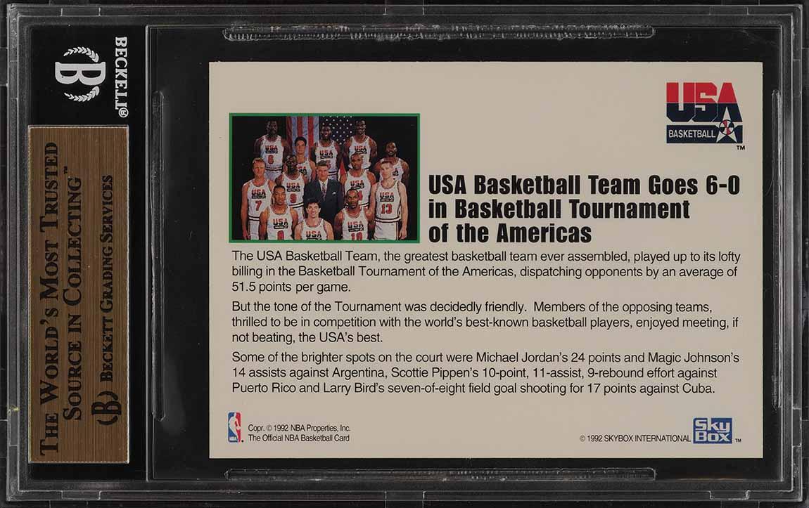 1992 Hoops Team USA w/ Michael Jordan #NNO BGS 9.5 GEM MINT (PWCC) - Image 2