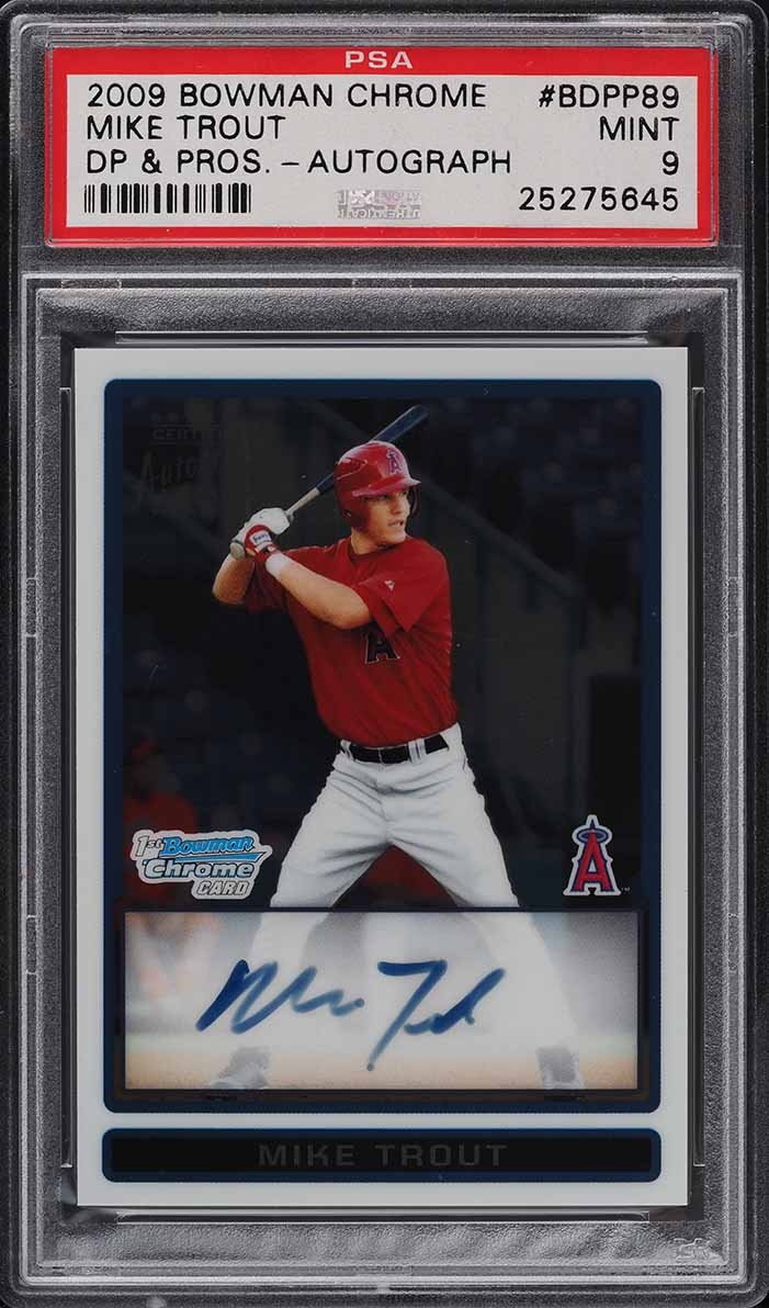 2009 Bowman Chrome Draft Mike Trout ROOKIE RC AUTO #BDPP89 PSA 9 MINT - Image 1