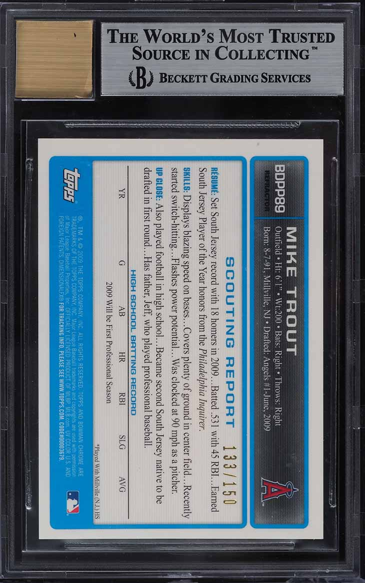 2009 Bowman Chrome Blue Refractor Mike Trout ROOKIE RC AUTO /150 BGS 9 MINT - Image 2