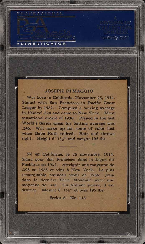 1937 O-Pee-Chee Joe DiMaggio ROOKIE RC #118 PSA 6 EXMT (PWCC) - Image 2