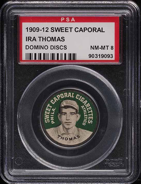 1909 Sweet Caporal Domino Discs Ira Thomas PSA 8 NM-MT - Image 1