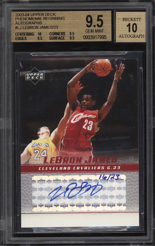 2003 Upper Deck Phenomenal Beginning LeBron James ROOKIE AUTO /23 BGS 9.5 (PWCC) - Image 1