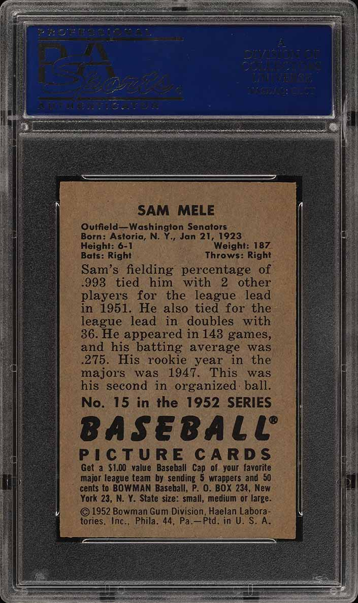1952 Bowman SETBREAK Sam Mele #15 PSA 8 NM-MT (PWCC) - Image 2