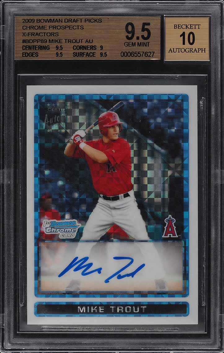 2009 Bowman Chrome Xfractor Mike Trout ROOKIE RC AUTO /225 BGS 9.5 GEM MINT - Image 1