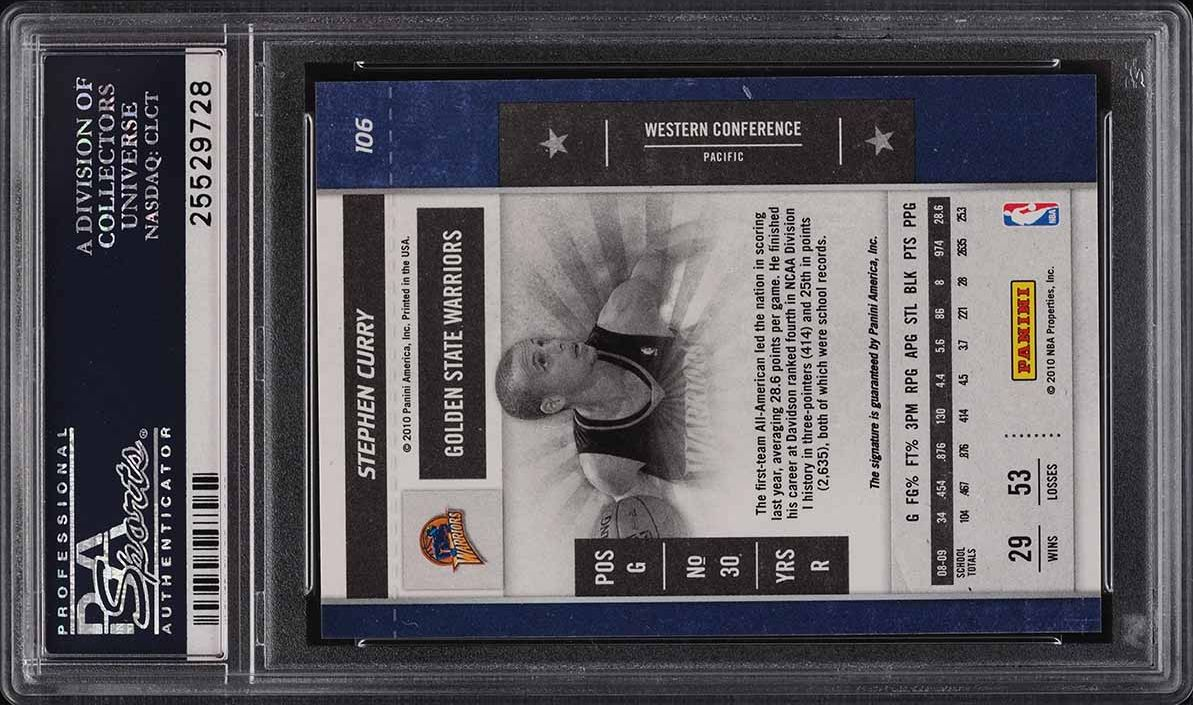2009 Playoff Contenders Stephen Curry ROOKIE RC AUTO #106 PSA 10 GEM MINT - Image 2