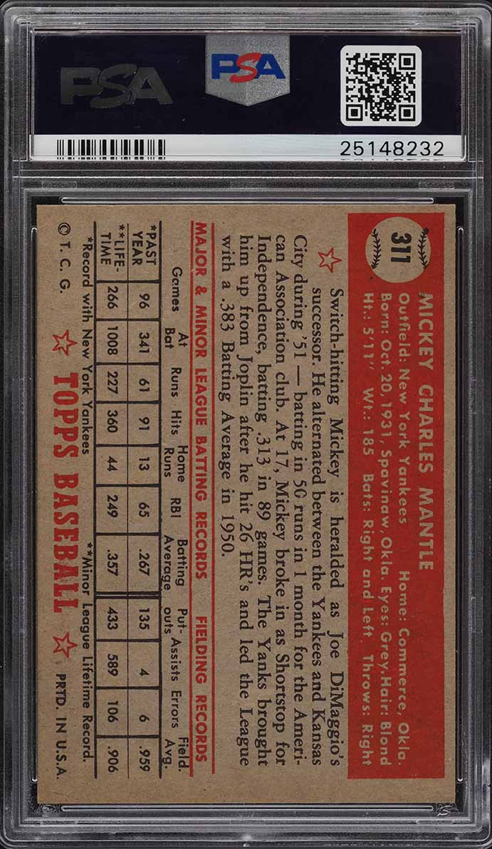 1952 Topps Mickey Mantle #311 PSA 8 NM-MT - Image 2