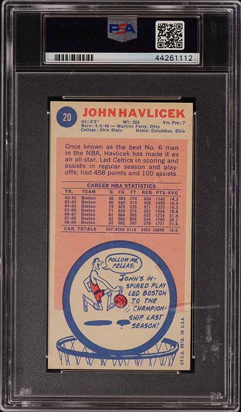 1969 Topps Basketball John Havlicek ROOKIE RC #20 PSA 6 EXMT (PWCC) - Image 2