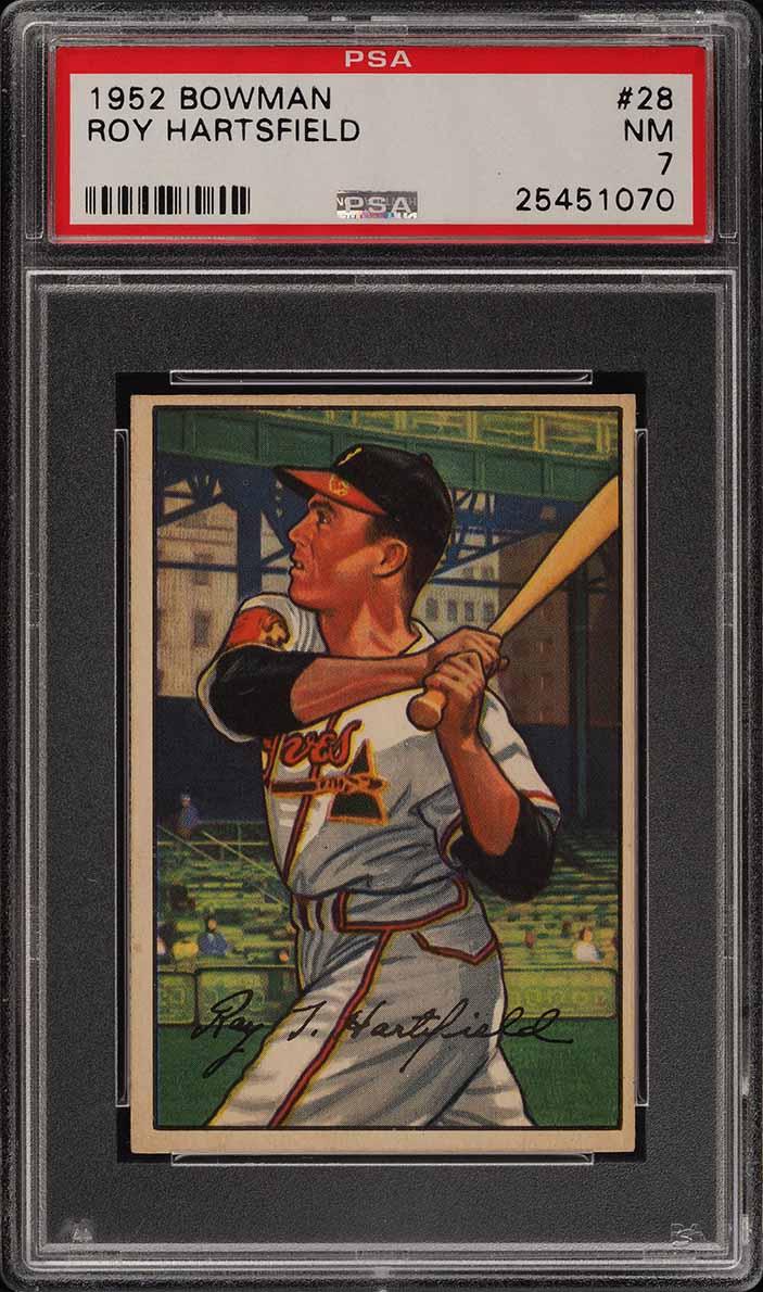 1952 Bowman SETBREAK Roy Hartsfield #28 PSA 7 NRMT (PWCC) - Image 1