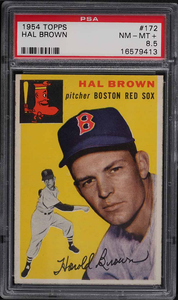 1954 Topps Hal Brown #172 PSA 8.5 NM-MT+ - Image 1