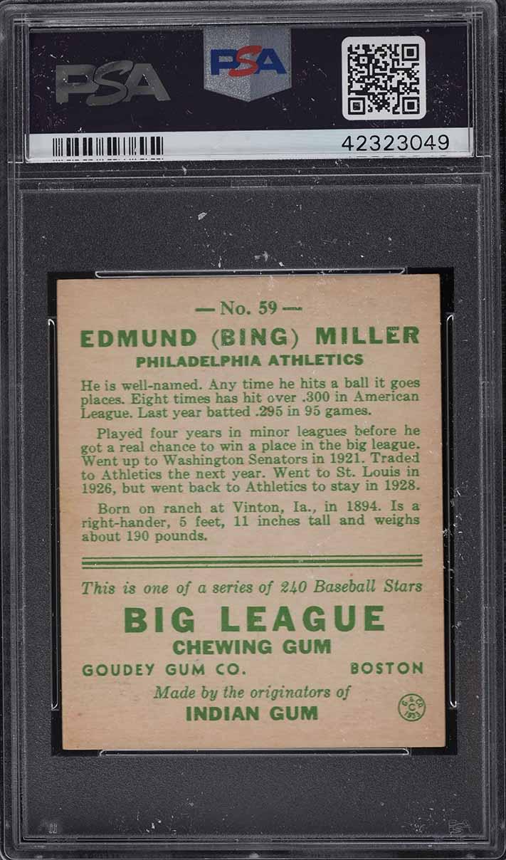 1933 Goudey Bing Miller #59 PSA 6 EXMT - Image 2