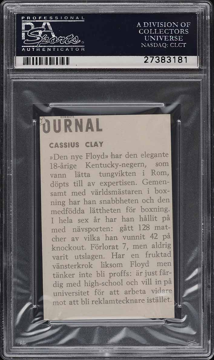 1960 Hemmets Journal Boxing Cassius Clay Muhammad Ali ROOKIE RC PSA 9 MT (PWCC) - Image 2