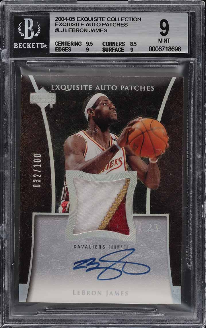 2004 Exquisite Collection Patches LeBron James 3-CLR PATCH /100 #LJ BGS 9 (PWCC) - Image 1