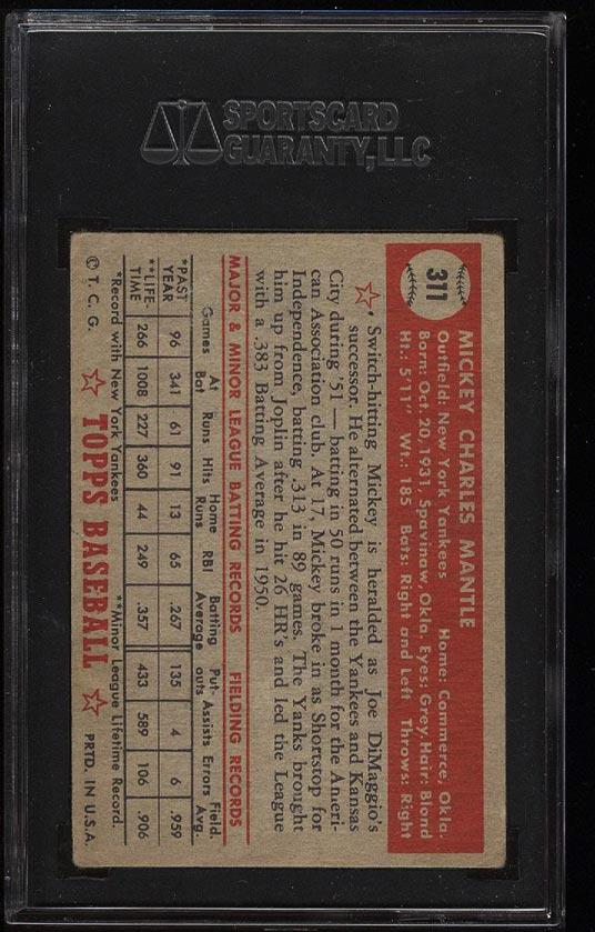 1952 Topps Mickey Mantle #311 SGC 3.5/45 VG+ (PWCC) - Image 2