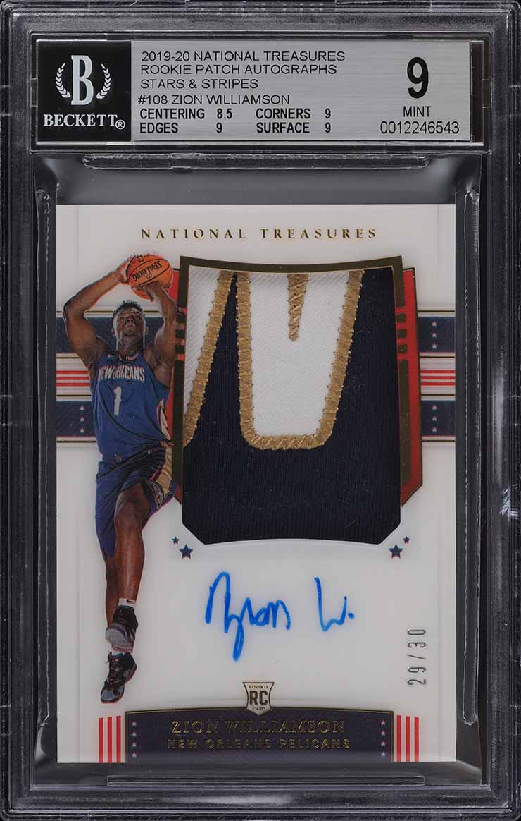 2019-20 National Treasures Zion Williamson FOTL ROOKIE PATCH AUTO /30 BGS 9 PWCC - Image 1