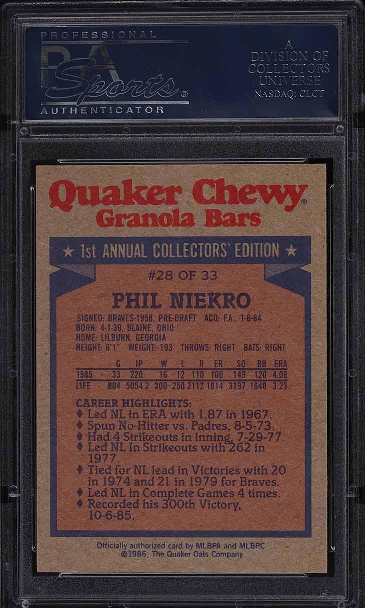 1986 Quaker Oats Phil Niekro #28 PSA 9 MINT - Image 2