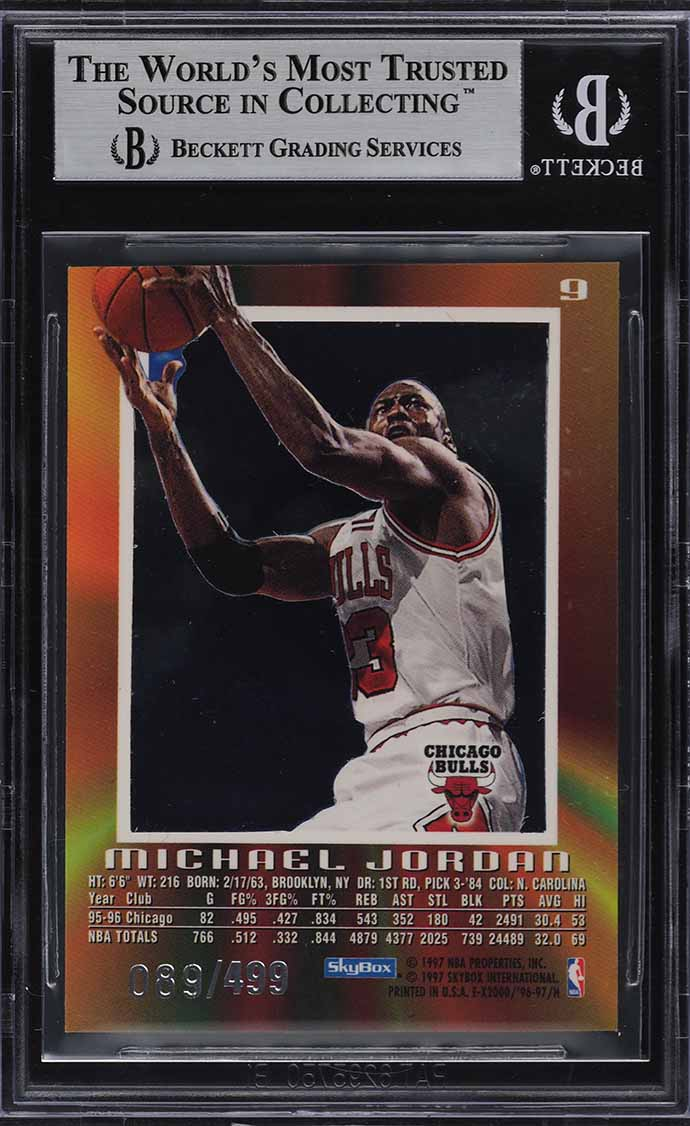 1996 Skybox E-X2000 Credentials Michael Jordan /499 #9 BGS 8.5 NM-MT+ - Image 2