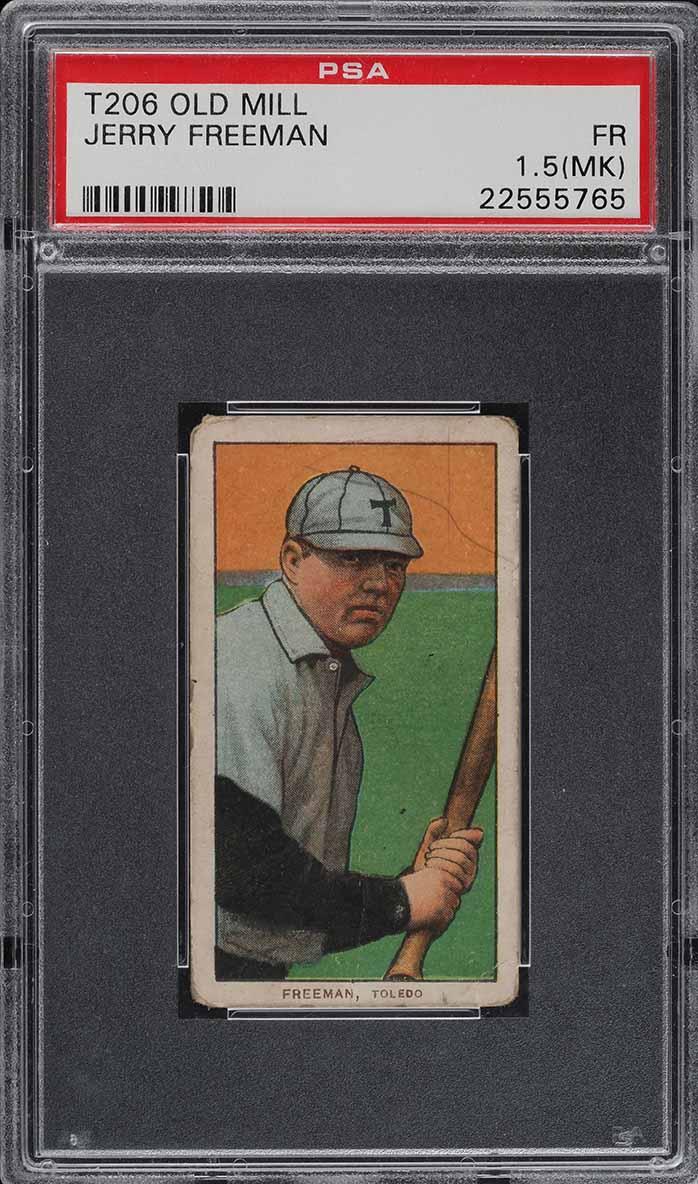 1909-11 T206 Jerry Freeman OLD MILL PSA 1.5(mk) PR (PWCC) - Image 1